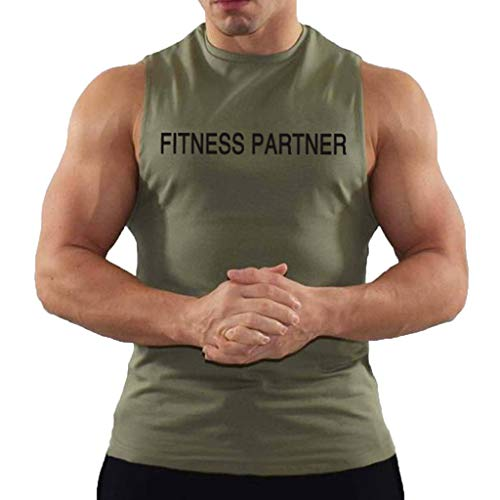 Wendeyipi Men's Tank Tops Fitness Partner Printing Summer Sexy Sleeveless Loose Shirts Casual Quick-Drying Sports Vest Blouse Green