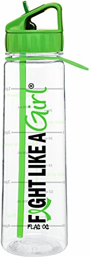 Fight Like A Girl Slimkim Ii Water Sports Workout Bottle Inspirational Time Marker With Measurement Goals 30 Oz  Lime Green
