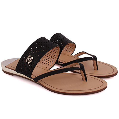 Unze Nuevas Mujeres 'Evangeline' Slotted Thong Open Toe Perforated Slider Sandalias Summer Beach Party Get Together Escuela Carnaval Casual Zapatillas Zapatos Tamaño UK 3-8 Negro