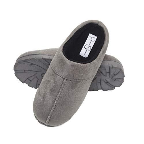 Jessica Simpson Microsuede Clog Slippers with Plush Microterry Lining and Indoor/Outdoor Sole (Size Extra Large, Grey) ()