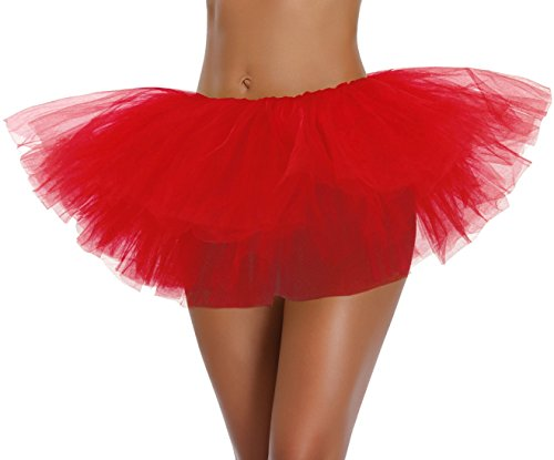 Women's, Teen, Adult Classic Elastic 3, 4, 5 Layered Tulle Tutu Skirt (One Size, Red 5Layer) -