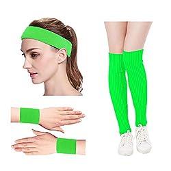 Kimberly's Knit Women 80s Neon Pink Running Headband Wristbands Leg Warmers Set