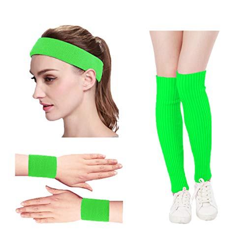 KIMBERLY S KNIT Women 80s Neon Pink Retro for Running Workout Headband Wristbands Leg Warmers Set (Free, Green)]()