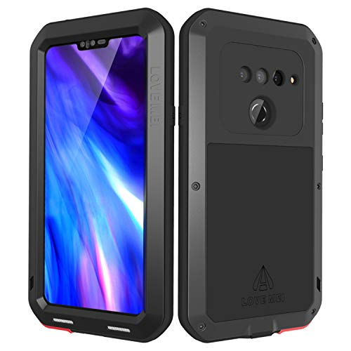(LOVE MEI LG V40 ThinQ Case with Built-in Glass Screen Protector, Wireless Charging Sturdy Cover Shockproof Dustproof Hybrid Metal and Silicone Rugged Heavy Duty Tank Outdoor Case for LG V40(Black) )