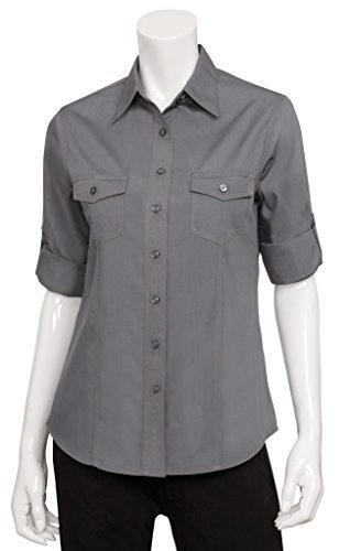 Chef Works WPDS-GRY-L Double Pocket Women's Shirt, Grey, Large by Chef Works
