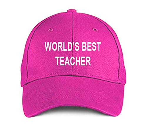 World's Best Teacher Pink Embroidered Hat Adjustable Structured Baseball Caps