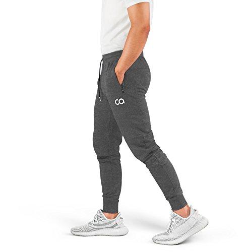Contour Athletics Men's Joggers (Cruise) Sweatpants Men's Active Sports Running Workout Pants with Zipper Pockets (Heather Grey) (Large) (CA1003-LG)