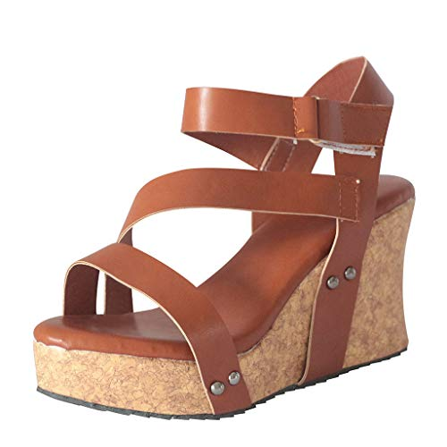 Auniemifly Women's Retro Platform Studded Open Toe Roman Sandals Solid Color Striped Hook & Loop Wedges Brown ()