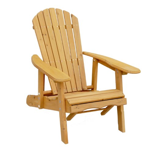 Leisure Season AC7105 Reclining Adirondack Chair with Pull-Out Ottoman