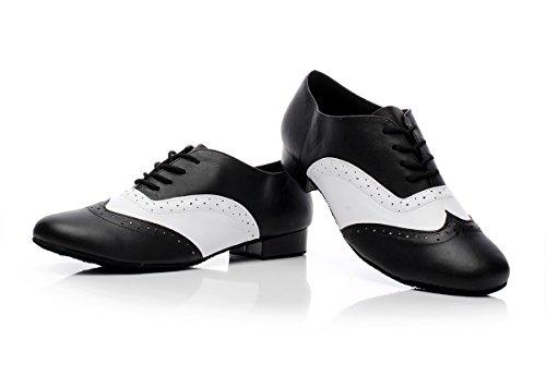 Minishion Qj9011 Mens En Hæl Lær Moderne Salsa Tango Ballroom Latin Dans Sko Svart / Hvitt-2.5cm Hæl