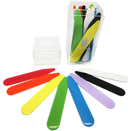 Shang Zun 32 Pcs Plastic Multi-colored Collar Stays in a Box, 2.37'' by Shang Zun
