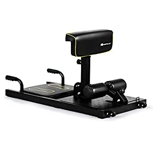 Goplus Deep Squat Machine, 8-in-1 Sissy Squat Fitness Equipment Functional Core Workout Training Sit Up & Push Up Leg Exerciser, with Anti-Skid Measures, Soft PVC Cover, Handy Wheels