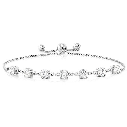(Gem Stone King 925 Sterling Silver 2.03 Ct Round White Created Moissanite 7 Stone Adjustable Bracelet Fits Up To 9