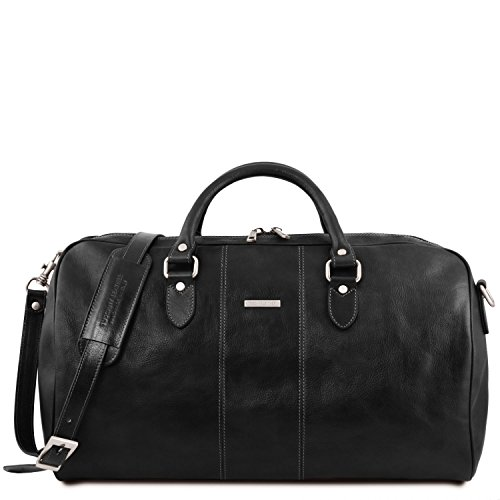 Tuscany Leather Lisbona Travel leather duffle bag - Large size Black by Tuscany Leather