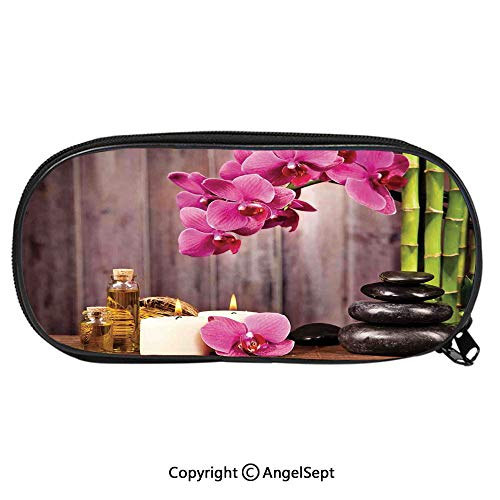 - Child Pencil Case Spa Orchid Flowers Rocks Bamboo Asian Style Aromatherapy Massage Therapy Decorative School Pen Bag Stationary Multipurpose Pouch for Girls Makeup Cosmetic Bag