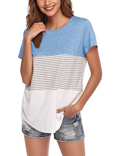 (AUPYEO Women's Short Sleeve T Shirt Round Neck Color Block Stripe Top Casual Blouse Light Blue)