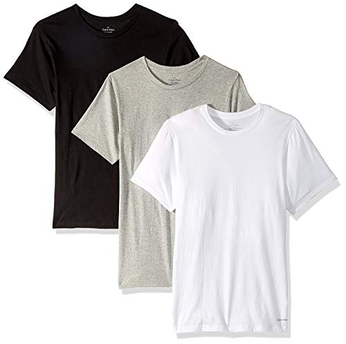 Calvin Klein Men's Undershirts Cotton Classics Slim Fit Crew Neck T-Shirts, Black/Grey/White, Large (Pack of 3)