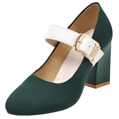 Mary Moda Mujer Jane Ancho Coolcept Zapatos Verde Tacón z481x