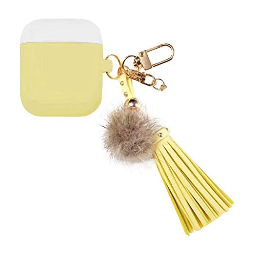 NANTE Accessories Cover Case with Ear Hook for Airpods 1 & 2 Fluffy Fur Ball Keychain Silicone Protective Earphones Covers (Yellow)