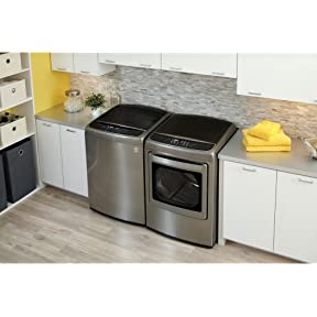 LG Graphite Steel Top Load Laundry Pair with WT1701CV 27' Washer and DLEY1701V 27' Electric Dryer