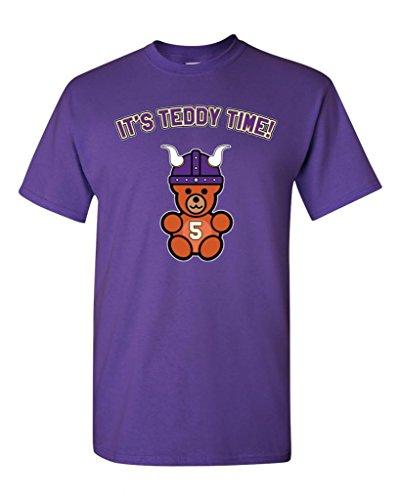 (It's Teddy Time Minnesota Football DT Adult T-Shirt Tee (Medium, Purple))