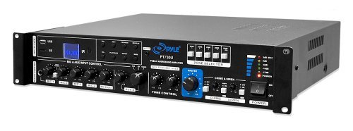 Pyle Multi Channel Home Audio Power Amplifier Mixer w/ 70V 100V Output - 375 Watt Rack Mount Stereo Receiver w/ 3.5mm AUX USB, Mic Talkover for PA System, Commercial Entertainment Use - PT730U by Pyle