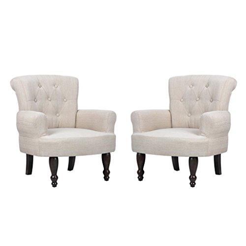 vidaXL Französischer Stuhl creme Ohrensessel 2 Stück
