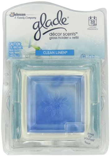 Glade Decor Scents Glass Holder, Clean Linen, 0.28 Ounce (Pack of 2)