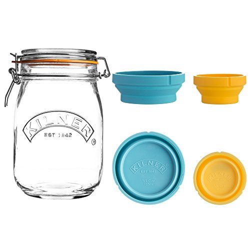 (Kilner Store Jar Set, 34-Fluid Ounce Glass Canister with Collapsible Silicone Measuring Cups, Space-Saving & Convenient Design, Airtight Clip Top Lid Keeps Contents Fresh, Dishwa)