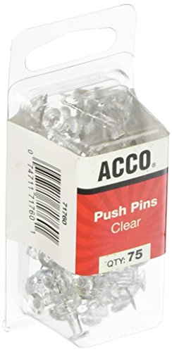 Swingline Work Essentials Push Pins, 75 per Pack, Clear (S7071760)