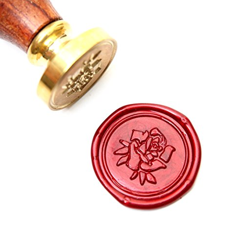 UNIQOOO Arts & Crafts Rose with Leaves Wax Seal Stamp -Embellishment of Envelope, Post Card, Snail Mail, Wedding Invitations, Wine Packages, Gift Decoration- Exceptional Gift Idea for Artistic Types