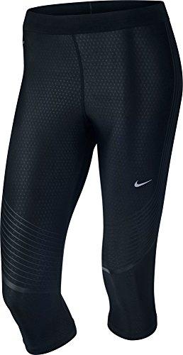 Nike Women's Power Speed Running Capris 801694 (Medium, Black/Black)