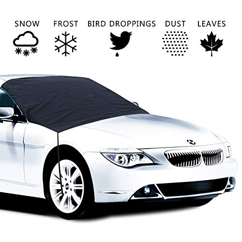 Car Windshield Snow Ice Cover, Universal Auto Windproof Magnetic Windshield Cover Fits for Car, Truck, SUV, Van, Automobile All Weather Winter Summer- Self Storage Pouch