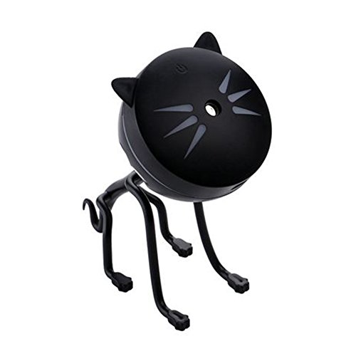 Fragrance Essential Oil Diffuser, Mini Cat Mist Humidifier Ultra-quiet Detachable USB LED Lamp Car Air Moist Corrosion-resistant Miniature Cartoon Colorful Aroma Diffusers Purifier Atomizer(Black)