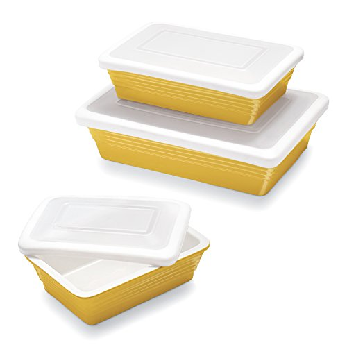 Yellow Bakeware Set (Sur La Table Yellow Oven-to-Table Bakers with Lids M91/M92/M93-W , Set of 3)