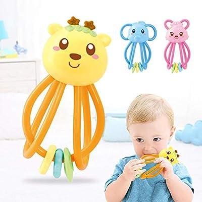 makalar Cartoon Animal Baby Teether Rattle Teether Educational Toys Bath Toys: Home & Kitchen