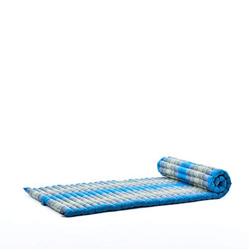 Leewadee Roll-Up Thai Mattress Guest Bed Yoga Floor Mat Thai Massage Pad Eco-Friendly Organic And Natural, 79x30x2 inches, Kapok, light blue