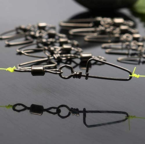 50pcs Fishing Rolling Barrel Swivels with Coast Lock Snap Black Nickel Fishing Swivel Snaps