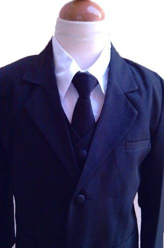 Classykidzshop Navy Blue Formal Suit 5pcs Set 3T (Toddler Blue Tuxedo)