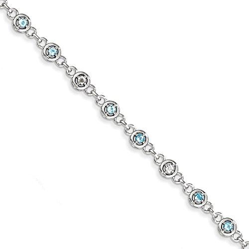 Sterling topaze bleue argentée et Bracelet diamant JewelryWeb
