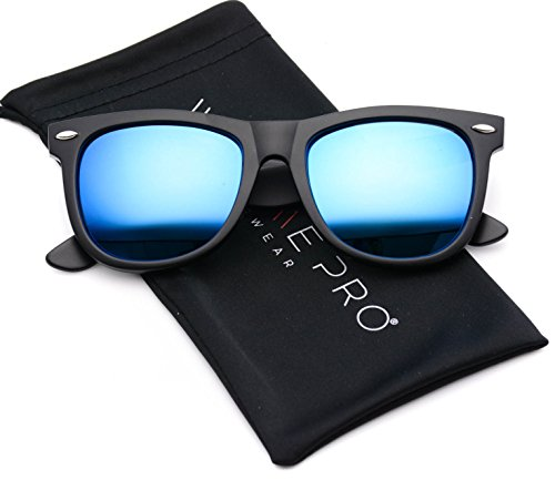 Matte Reflective Revo Color Lens Large Horn Rimmed Style Sunglasses (Mirror Blue, 51)