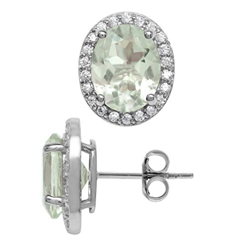 (3.28ct. 9x7MM Natural Oval Shape Green Amethyst 925 Sterling Silver Halo Stud Earrings)