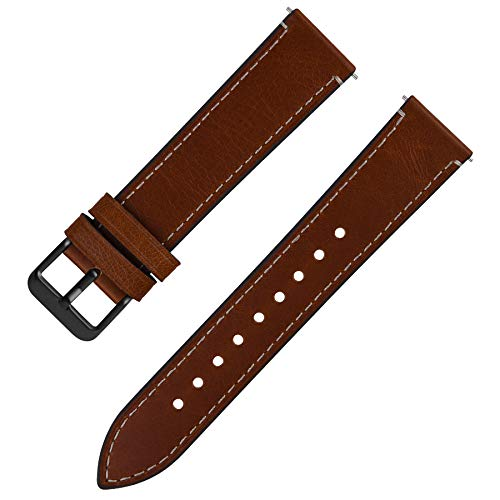 Quick Release Leather Watch Band, Fullmosa 6 Colors Wax Oil 14mm 16mm 18mm 20mm 22mm 24mm Leather Watch Strap,18mm Dark Brown+Smoky Grey Buckle-QR