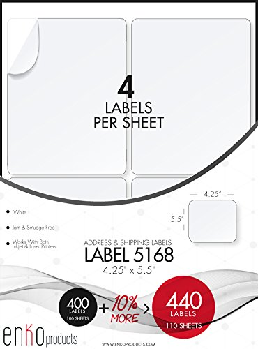 Barcode Labeling Software (enKo [110 Sheets; 440 Labels] - 3-1/2 x 5