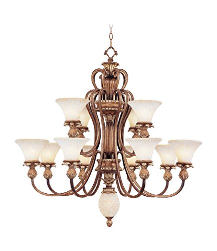 (Venetian Patina 12 Light 720W Chandelier with Medium Bulb Base and Vintage Carved Scavo Glass from Savannah Series)