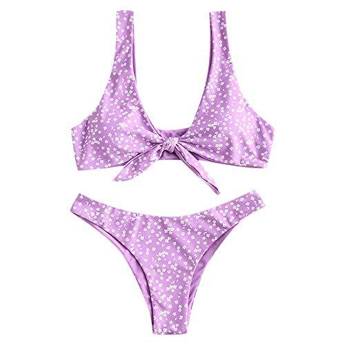 ZAFUL Women Front Knot Padded Bikini Set Sexy Strap Swimsuit (Purple Print, Large)