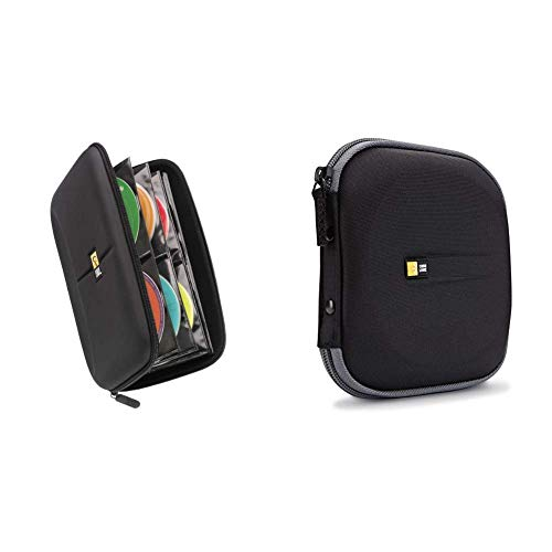 Case Logic CDE-48 48 Capacity Heavy Duty CD Wallet, Black & EVW-24 EVA Molded 24 Capacity CD/DVD Case (Black)