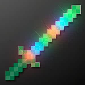 Green Glowing LED 8-Bit Light Up Pixel Sword (Set of 3)