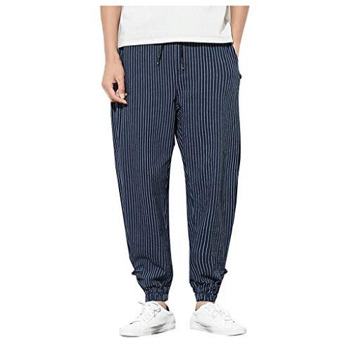 Fitness Trousers Mens Summer Casual Harem Pants Jogger Pants Linen Loose Navy