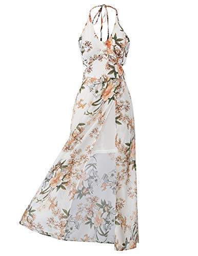 Summer Dress for Women Adjustable Halter Beach Sundress Size M Color White
